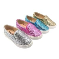 Wholesale Pink Rubber - New Kids Shinning Sneakers Children Casual Shoes Glitter Pink Gold Silver Blue Upper Anti-slip Rubber Sole