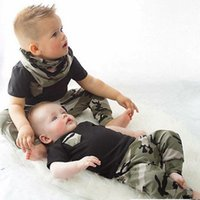 Wholesale Camouflage Pants Shorts Girls - 2017 Baby Boys and Girls Cotton Jumper T-shirts with Casual pants Babies fashion sets Children's Camouflage Outfits