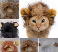 Wholesale Lion Head Hat - Pet Cat Emulation Lion Hair Mane Ears Head Caps Hats Cat Dress Up Wig