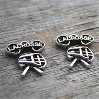 Wholesale Lacrosse Charms - 10pcs--Lacrosse Charms , Antique Tibetan Silver Tone Lacrosse Charms Pendants 16x19mm