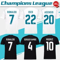 Wholesale Shirt Black Blue White - 2018 Champions League Real Madrid home white Soccer Jersey 17 18 CR7 RONALDO away black Soccer Shirt Bale Football uniforms Asensio S-XXXL