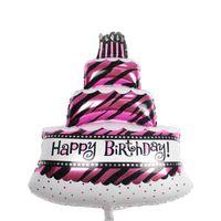 Wholesale Cake Decorations Sale - Hot Sale Aluminum Balloon Cartoon Balloons Birthday Balloon Decoration Birthday Candles Cakes Shape Balloons Pink Blue Colors 100*69CM
