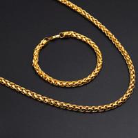 "Wholesale Gf Bracelets - 14k Yellow Fine Gold GF Men's Women's Necklace 24"" Rope Chain Bracelet Filled Charming Jewelry sets"