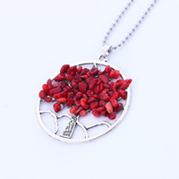 Wholesale Amethyst Stone Colors - 5 Colors Hot Boho Style Amethyst Tree Of Life Natural Stone Round Pendant Necklace Women Crystal Quartz Christmas Gift Jewelry