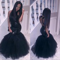 Wholesale Girls Green Pageant Dress Sequins - Sparkly Black Girls Mermaid African Prom Dresses 2017 Sexy Corset Halter Neck Sequins Formal Evening Dress Cheap Tulle Party Pageant Gowns