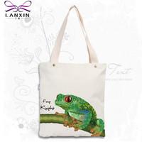 Wholesale Wholesale Frog Handbags - Wholesale- Canvas Women Bag Casual Cotton Tote Fashion frog Handbag Reusable Bag Bolsas Shoppingbag New Women's Shoulder Bags