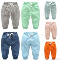 Wholesale Night Pants Wholesalers - Baby Bloomers Girls Anti-Mosquito Trousers Infant Summer Cotton Pants Boys Solid Elastic Soft Pants Night Pajamas Kids Baby Clothing H464