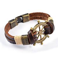 Wholesale Titanium Leather Mens Bracelet - Wholesale-Free Shipping New 2016 Summer Style Mens Leather Bracelets & Bangles Vintage Helm Brown Bracelet Men Jewelry Hot Sale YK2019