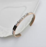 Wholesale Clasp Types - Popular C - type open titanium steel jewelry bracelet male and female couple creative double - engraved bracelet