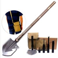 Wholesale Black Car Shovel - Professional Military Tactical Multifunction Shovel Outdoor Camping Survival Foldable Spade Tool Equipment Black Golden Color