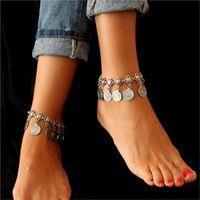 madeni para takılar toptan satış-Gümüş Renk Bohemian Kadınlar Bilezik Metal Seksi Plaj Püskül Halhal Lüks Charm Sikke Ayak Bileği Bilezikler Femme Yaz Tarzı Takı 2017