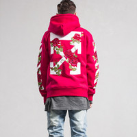 Wholesale Black Embroidered Coat - Off White Jacket Off-White C O Virgil Abloh Men Women Rose Arrows Embroidered Autumn Winter Zipper Hoodies Coat Red Black Fleece Sweatshirt