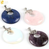 Wholesale Real Raw - CSJA Real Gemstones Raw Material Natural Stone Minerals Healing Crystal 4cm Hollow Round Pendant Charm Jewelry DIY Making Findings E071