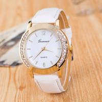 Wholesale Double Diamond Geneva Watches - GENEVA Double deck Ladies Watches Fashion PU Belt gold Double Diamond Ladies Watch 12 COLORS FOR SALES FREE SHIPPING