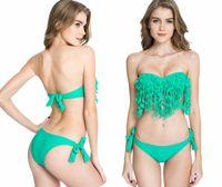 Wholesale New Push Up Bandeau Top - New Solid Green Push-up Bandeau Top Stylish Leaves Fringe Fashion Brazilian Bikini Swimsuit