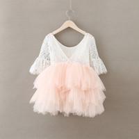 häkeln blumen tulle kleid großhandel-Baby Mädchen Häkelspitze Tüll Kleider Kinder Mädchen Prinzessin Tutu Floral Kleid Mädchen Herbst Perle Party Kleid