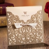 Wholesale Wholesale Greeting Cards Supplies - Golden Laser Cut Wedding Invitations with Ribbon Bowknot Hollow Invited Card Greeting Paper Party Celebration Supplies JJ432