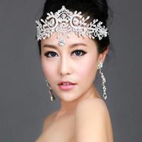 Wholesale Leaf Tiara - New Luxury Leaf Bride Frontlet Crystal Headpieces Headband Bridal Hair Accessories Vintage Princess Women Wedding Hair Jewelry Crown Tiara