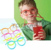içki içki tasarımları toptan satış-Ilginç Güneş Gözlüğü Tasarım Plastik Içme Saman Çocuklar Çocuklar için Renkli Yumuşak Gözlük DIY Dilimleri Esnek İçme Tüpler Parti Hediye