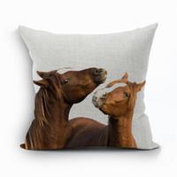 Wholesale Wholesale Linen Horse - Wholesale- Pillow Case Animal Pillow Cover For Living Room Horse Cotton Linen PillowCase Fronha Capa De Almofada Organizadores Para Casa 4