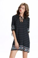 Wholesale Women Dress Skirt Wind - Europe and the United States in the new summer v neck lace wind sleeve Irregular dress printing loose waist women fashion skirt YYL010