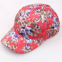 Wholesale Ladies Visors Wholesale - 2017 New Fashiong Lady Girl Flower Printing Visor Hat Baseball Cap Snapback Hip-Hop Hats for Four Seasons