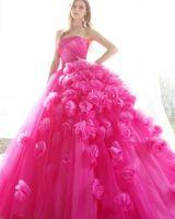 boléro à robe rouge achat en gros de-Élégante rose doux 16 robes de Quinceanera sans manches robe de bal en tulle sans manches, robe de Quinceanera fleurs Crystal Sash robe de soirée