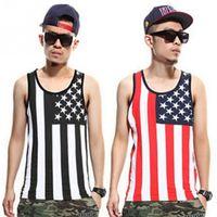 Wholesale Cheap Sexy Xs Top - Wholesale- New 2017 Fashion Men's Hip Hop Tank Tops American Flag Printed Vest Undershirt Bodybuilding Sleeveless Tops Cheap