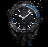 Wholesale Blue Wrist Watches - New Style AAA Top Quality Planet Ocean 600M GMT Deep Black And Blue Automatic Machinery Casual Mens Watch Men's Sport Wrist Watches