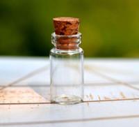 petites bouteilles d'huile essentielle achat en gros de-Vente en gros - en gros 100pcs / lot 0.5ml bouteilles en verre clair minuscules rechargeables avec bouchons en plastique de liège comme fiole vide d'huile essentielle