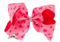 Wholesale Big Pink Hair Bow Headband - Free Shipping Newests 10pcs 8 ''Fashion Headbands Valentine Pink Heart Print Signature Hair Bow Headwear Bow Pattern Big