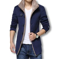 Wholesale Trench Coats Sale - Wholesale- 2016 Men Long Wool Coat Winter Men Jackets And Coats Slim Fit Men Windbreaker High Quality Trench Coat Plus Size Hot Sale