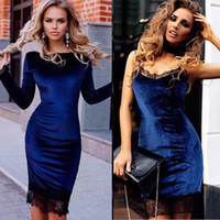 Wholesale Long White Coctail Dress - Work Coctail Spring Fashion Velvet Dress With Lace Patchwork Women Long Sleeve Slip Sexy Slim Sheath Bodycon Party Dresses DK1715LY