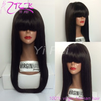 Wholesale Remy Hair Wigs Bangs - Straight Lace Front Human Hair Wigs With Bangs Brazilian Remy Full Lace Wig For Black Women Pre Plucked Bleacehd Knots YiFei