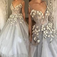Wholesale Wholesale Wedding Gown Appliques - Shiny Spaghetti Wedding Gowns Appliques Bead Sleeveless Custom Bridesmaids Dress 3D Flower Floor Length Crystal Tulle Wedding Dresses
