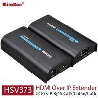 Wholesale Hdmi Extender Rj45 - HSV373 HDMI Extender Ethernet Support 1080P 120m HDMI Extender Ethernet Over Cat5 Cat5e Cat6 Rj45 HDMI Over IP Extender