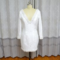 Vestidos Largos Para Bodas Real Photo Vinoprom Fodero scollo a V in rilievo in pizzo Mini lunghezza sposa abiti da cocktail economici abito 2018