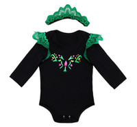 Wholesale Wholesale St Patricks Day - st patricks day newborn clothes kids long sleeve romper black jumpsuit + lace crown headbands green baby girls boutique outfits bodysuits