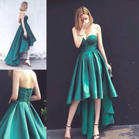 Wholesale Vogue Evening Dresses - 2017 Vogue High Low Hunter Green Prom Dresses Sweetheart Elastic Satin Lace Up Plus Size Evening Dress Formal Cocktail Party Gowns