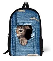 Wholesale Dog Hiking Backpacks - New Fashion Lovely Cat dog Backpack 3D animal Laptop bag unisex School Bag bookbags Outdoor Travel Rucksacks