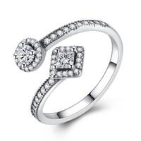 kadınlar için klasik elmas yüzükler toptan satış-BELAWANG 925 Ayar Gümüş Vintage Temizle CZ Parmak Yüzük Kadınlar için Simüle Elmas Düğün Nişan Açık Halka Toptan # 678