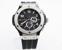 Wholesale Mens Big Case Watches - high quality luxury dress big bang automatic silver case black dial mens watch HB303 rubber band men watches