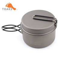 Wholesale Titanium Camping Pots Pans - TOAKS Titanium Cookware Cooking Picnic Pan Pot Set Portable Backpacking Cookware Folding Handle Weight 142g CKW-1350