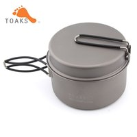 utensilios de cocina de titanio mochileros al por mayor-TOAKS Titanium Cookware Cooking Picnic Pan Pot Set portátil Backpacking utensilios de cocina manija plegable Peso 142g CKW-1350