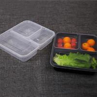 frischhaltedosen mikrowellenfest großhandel-Einweg-Mikrowellen-Lebensmittelaufbewahrungs-Safe 3 Abteilungen Essenszubereitungsbehälter W / Lip Lunchbox Kids Food Container Tableware