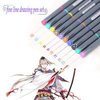 Wholesale Micron Drawing Pens - Art Supplies 10 color High Quality Brush Micron Fine Line Drawing Pen Sketch Pens Hook Line mark Pen Painting Pens Marker