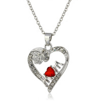 Wholesale heart shape diamond pendant - Fashion jewelry Women High quality Creative rose diamond pendant necklace Red heart-shaped crystal Mother's Day necklace