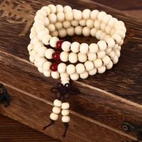 Wholesale wholesale mala prayer beads - Wholesale New 108*8mm Sandalwood Buddhist Buddha Meditation 108 beads Wood Prayer Bead Mala Bracelet Women Men Jewelry free shipping