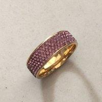 ametist altın düğün yüzüğü toptan satış-Moda Takı 18 k altın dolgulu Ametist Simüle Elmas Düğün prenses daire Band Yüzük Kadınlar hediye için Boyutu 6-13
