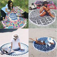 Wholesale Swimsuit Cover Up Towel - Round Beach Towels Women Bikini Shawl Bohemian Mandala Tassels Beach Towel Cotton Serviette Cover up Swimsuit Beachwear Mat Blanket DHL 17